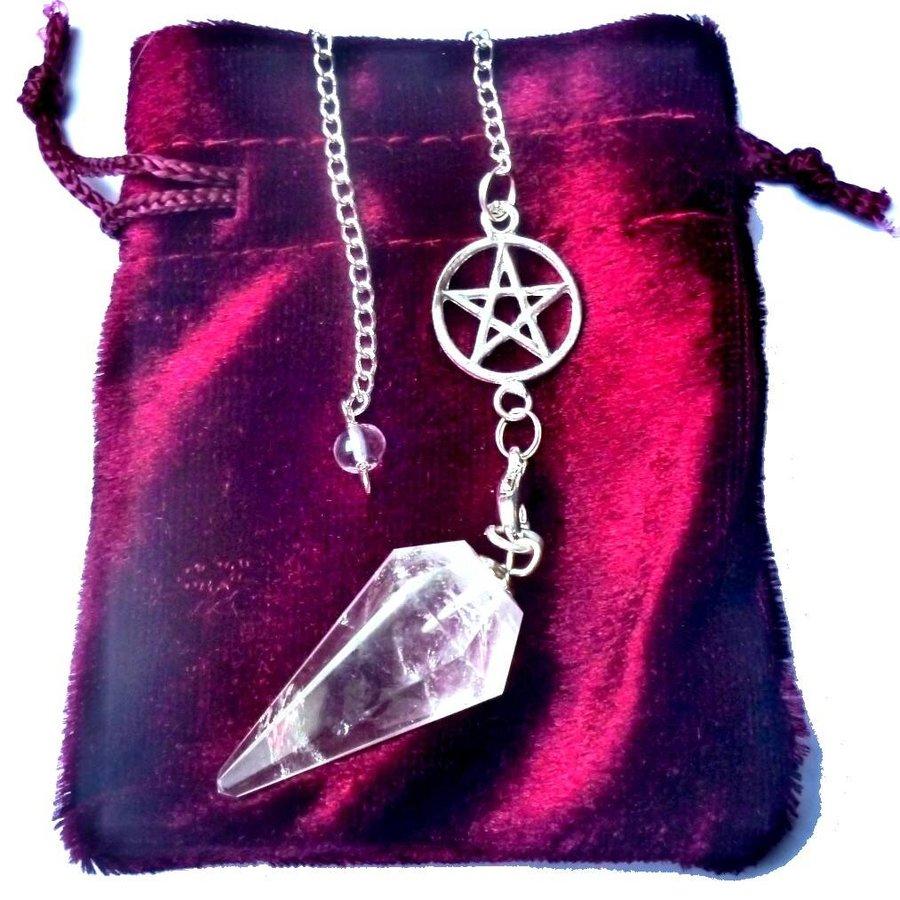 Bergkristall Pendel mit Pentagrammkette-5