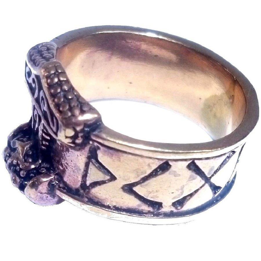Bronze Thor Hammer Ring mit Runen-4