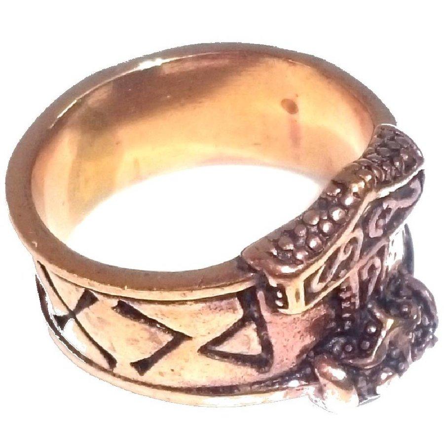 Bronze Thor Hammer Ring mit Runen-3