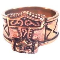 thumb-Bronze Thor Hammer Ring mit Runen-5