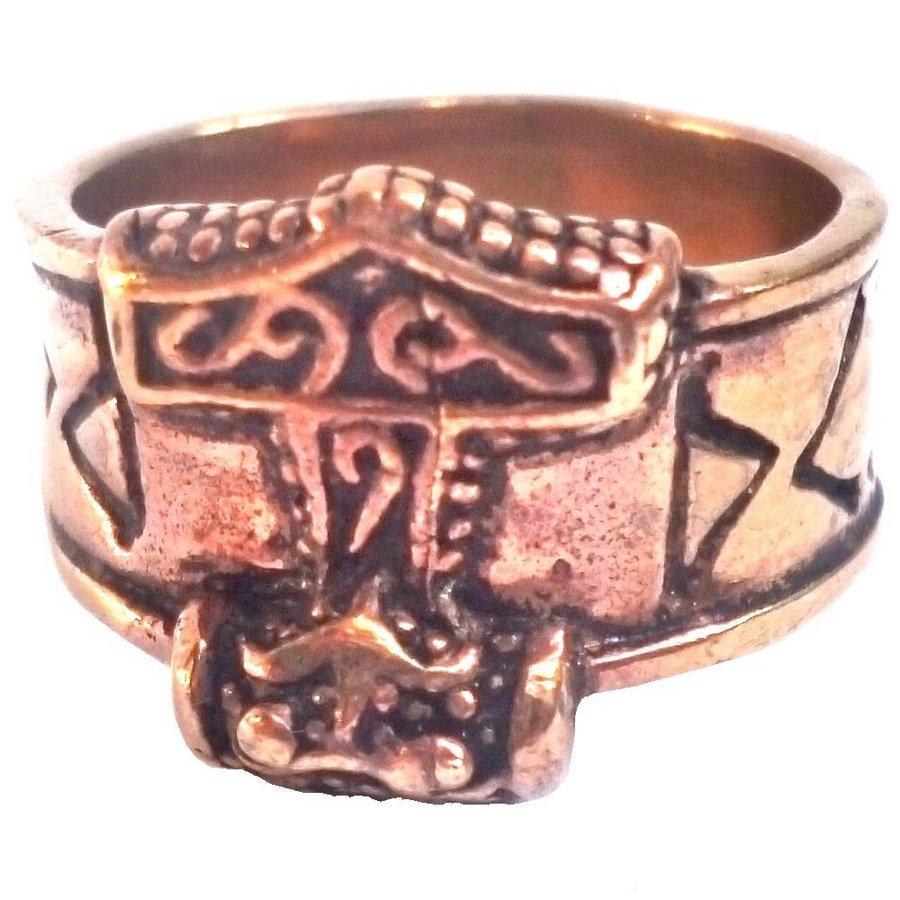 Bronze Thor Hammer Ring mit Runen-5