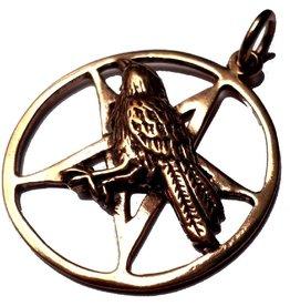 Bronze Anhänger Raben Pentagramm