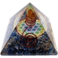 thumb-Orgonit Pyramide mit Lapislazuli und Blume des Lebens-1