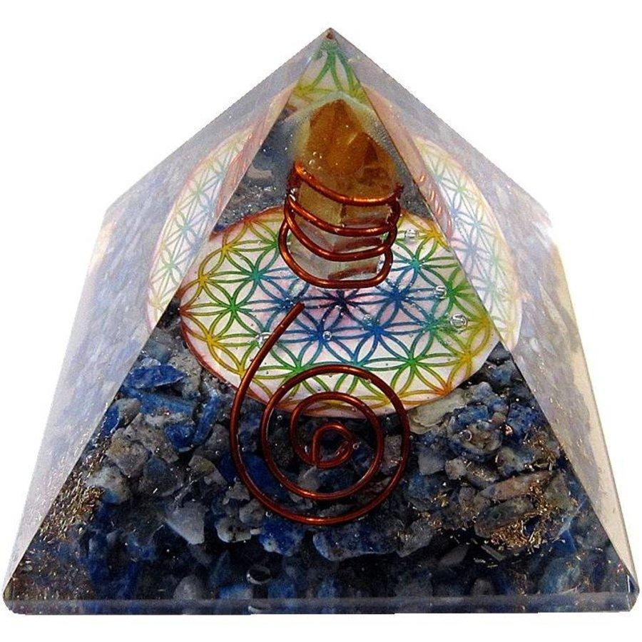 Orgonit Pyramide mit Lapislazuli und Blume des Lebens-1