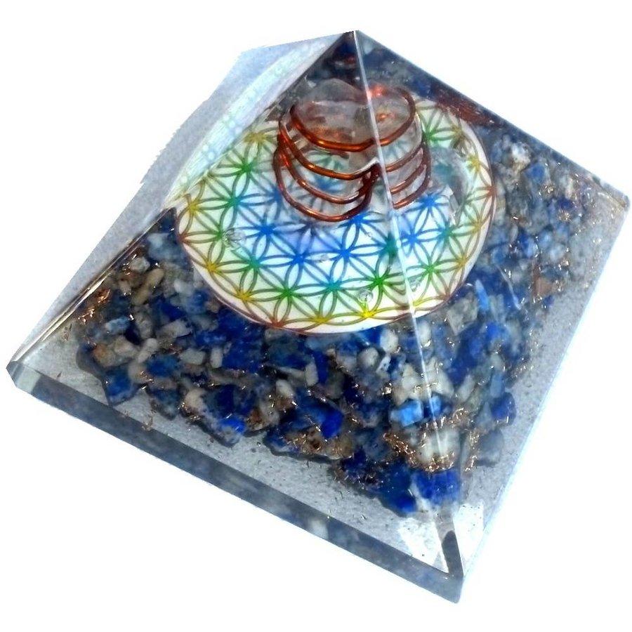 Orgonit Pyramide mit Lapislazuli und Blume des Lebens-4