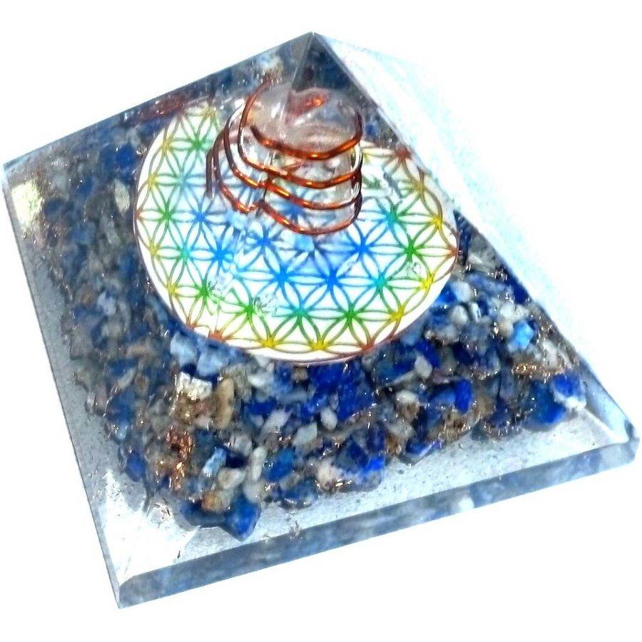 Orgonit Pyramide mit Lapislazuli und Blume des Lebens-5