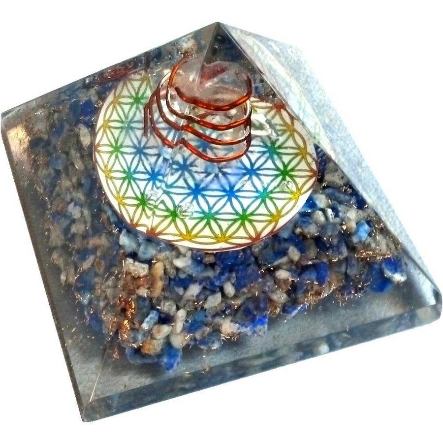 Orgonit Pyramide mit Lapislazuli und Blume des Lebens-6