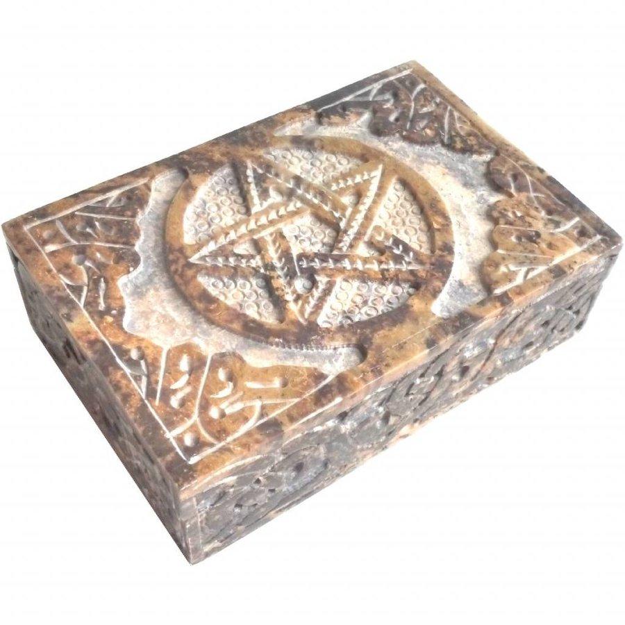 Speckstein Dose mit Pentagramm oder Triquetra-7
