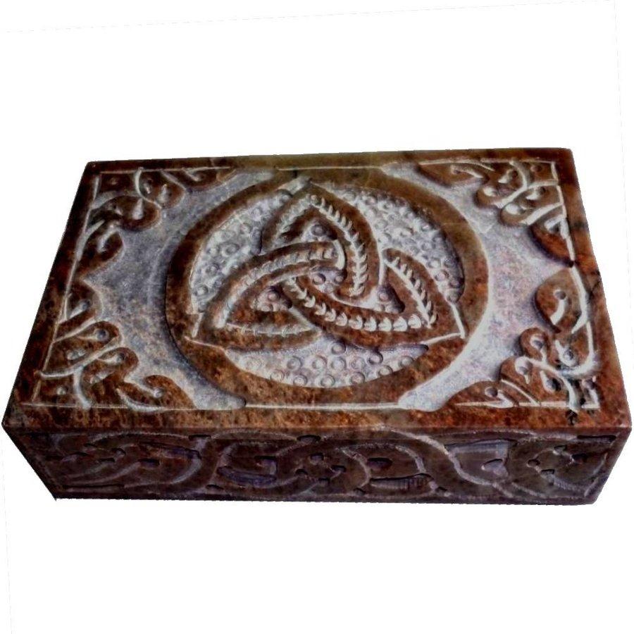 Speckstein Dose mit Pentagramm oder Triquetra-9