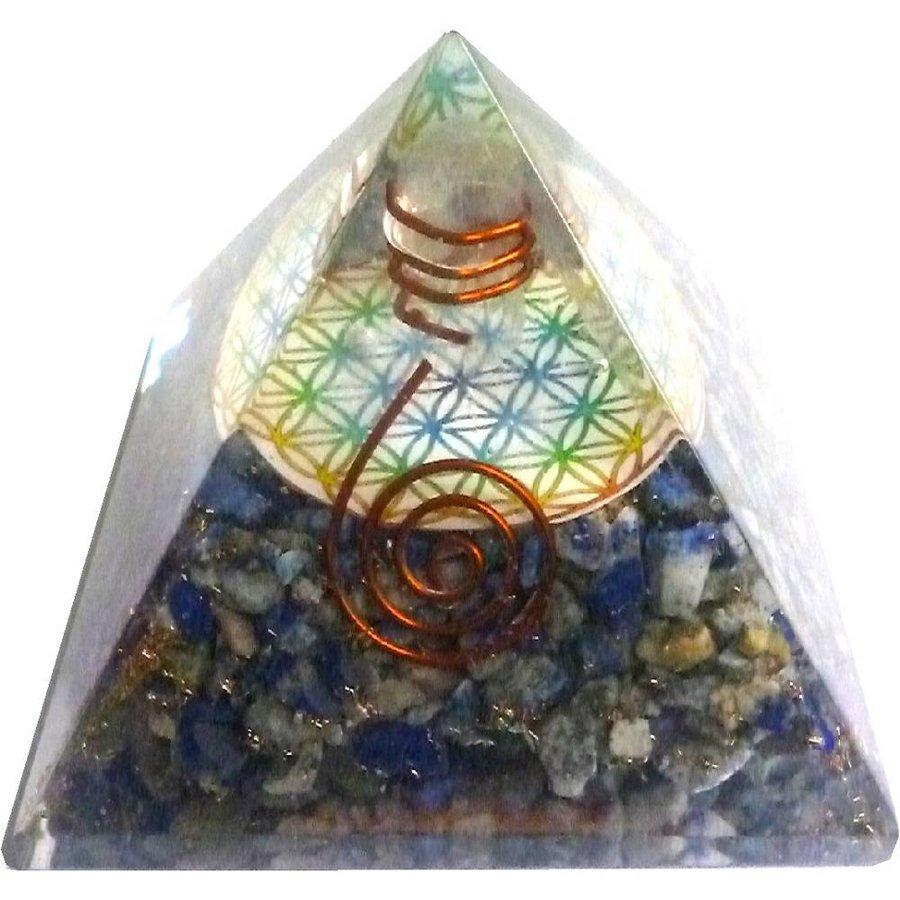 Orgonit Pyramide mit Lapislazuli und Blume des Lebens-2