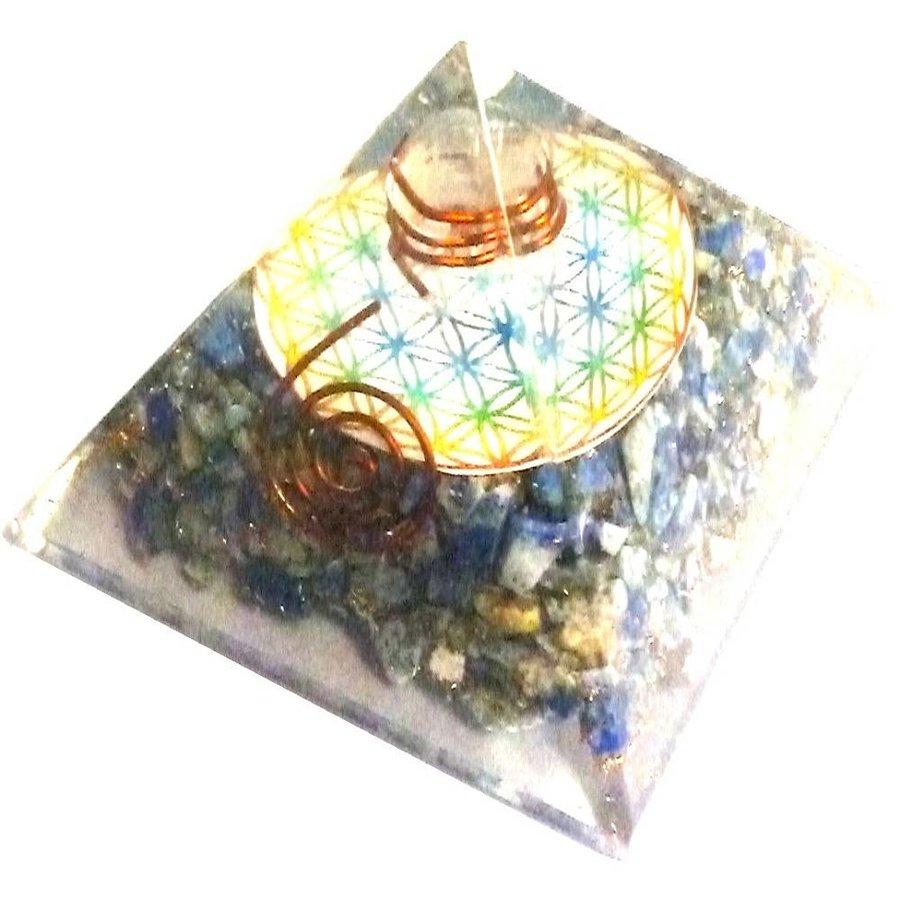 Orgonit Pyramide mit Lapislazuli und Blume des Lebens-3
