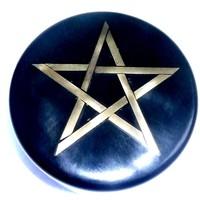thumb-Altarkästchen, Speckstein Dose rund, schwarz mit Pentagramm-2