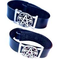 thumb-Lederarmband  Pentagramm mit Steinchen-2