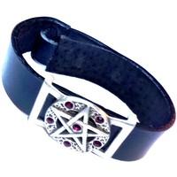 thumb-Lederarmband  Pentagramm mit Steinchen-1