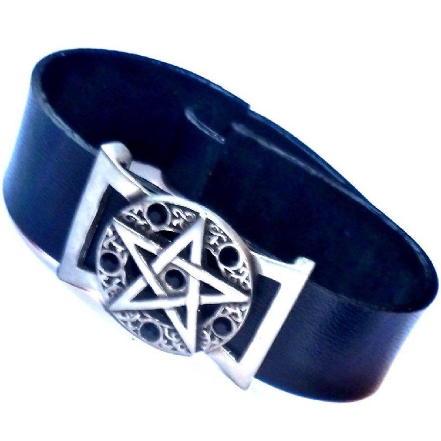 Lederarmband  Pentagramm mit Steinchen-4