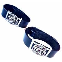 thumb-Lederarmband  Pentagramm mit Steinchen-5