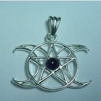 thumb-Anhänger Pentagramm Dreifacher Mond mit Stein-3