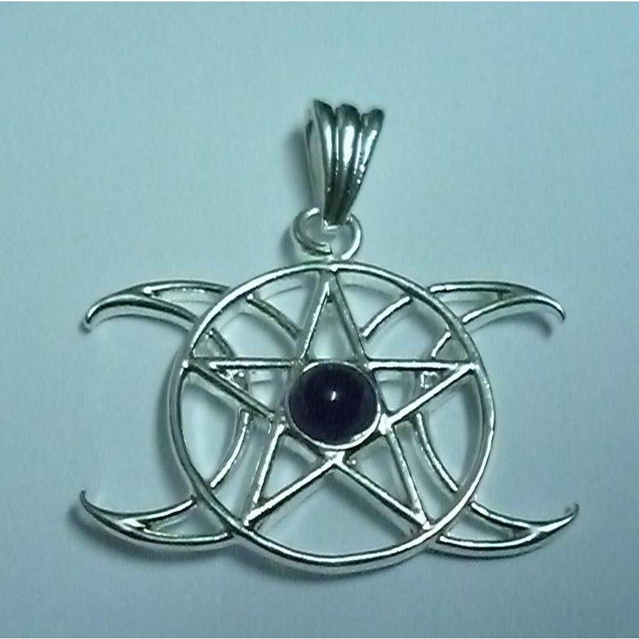 Anhänger Pentagramm Dreifacher Mond mit Stein-3