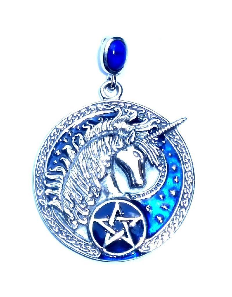 Kettenanhänger mit Lapislazuli, Einhorn und Pentagramm