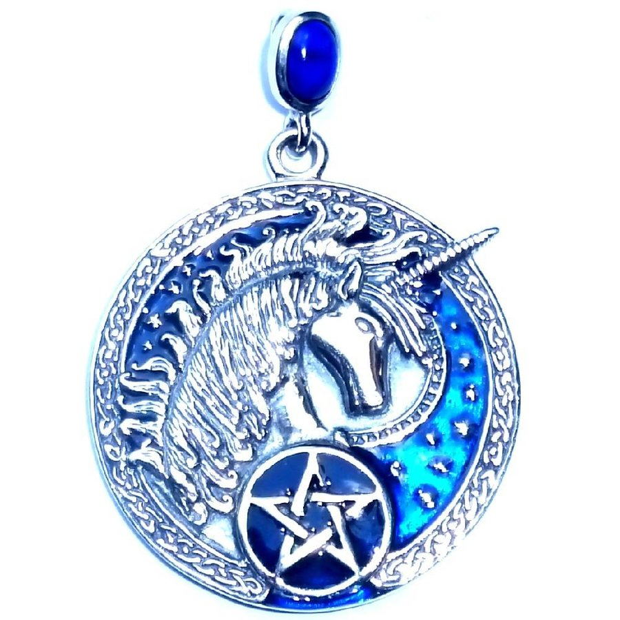 Kettenanhänger mit Lapislazuli, Einhorn und Pentagramm-2