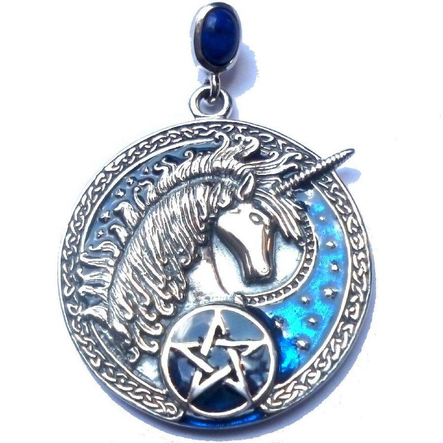Kettenanhänger mit Lapislazuli, Einhorn und Pentagramm-1
