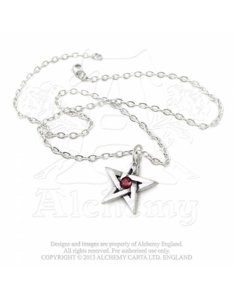 Alchemy Pentagramm mit Kristall  Anhänger