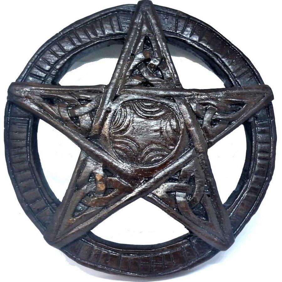 Pentagramm, geschnitzt, klein-2