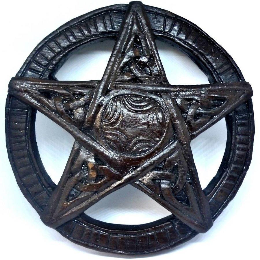 Pentagramm, geschnitzt, klein-1