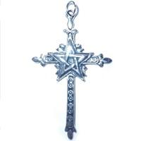 thumb-Kreuz mit Pentagramm Silberanhänger-3