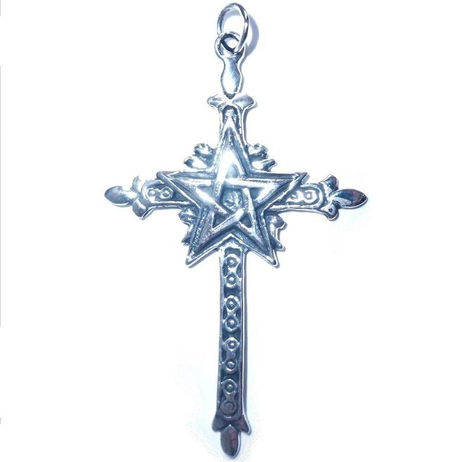 Kreuz mit Pentagramm Silberanhänger-3