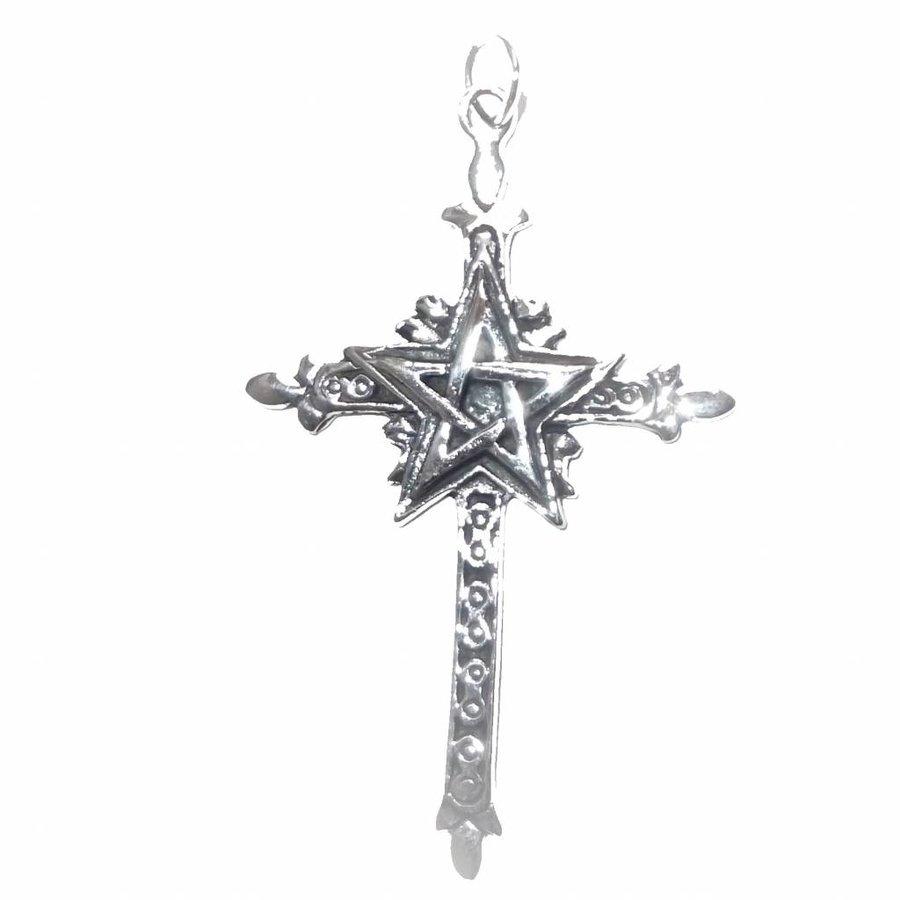 Kreuz mit Pentagramm Silberanhänger-1