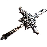thumb-Kreuz mit Pentagramm Silberanhänger-4