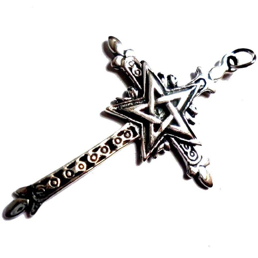 Kreuz mit Pentagramm Silberanhänger-4