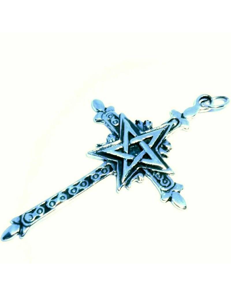 Kreuz mit Pentagramm Silberanhänger
