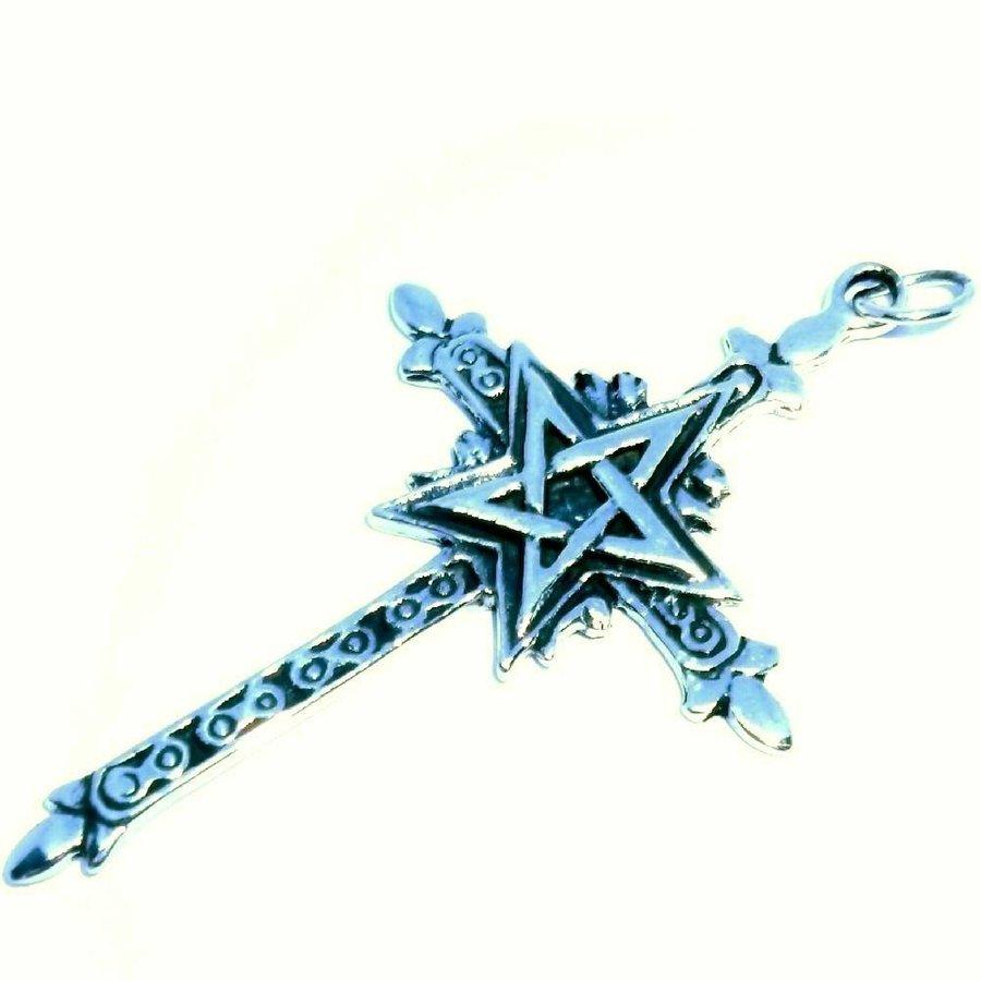 Kreuz mit Pentagramm Silberanhänger-2