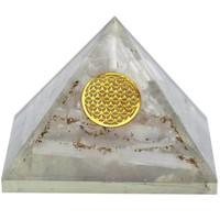 thumb-Orgonit Pyramide mit Selenit und Blume des Lebens-1