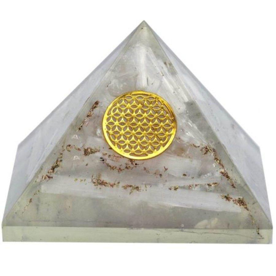 Orgonit Pyramide mit Selenit und Blume des Lebens-1