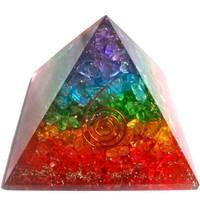 thumb-Orgonit Pyramide mit Regenbogen mit gemischten Steinen-2