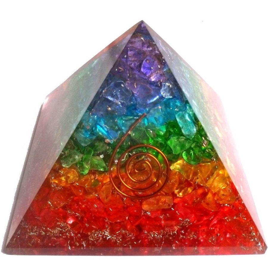 Orgonit Pyramide mit Regenbogen mit gemischten Steinen-2