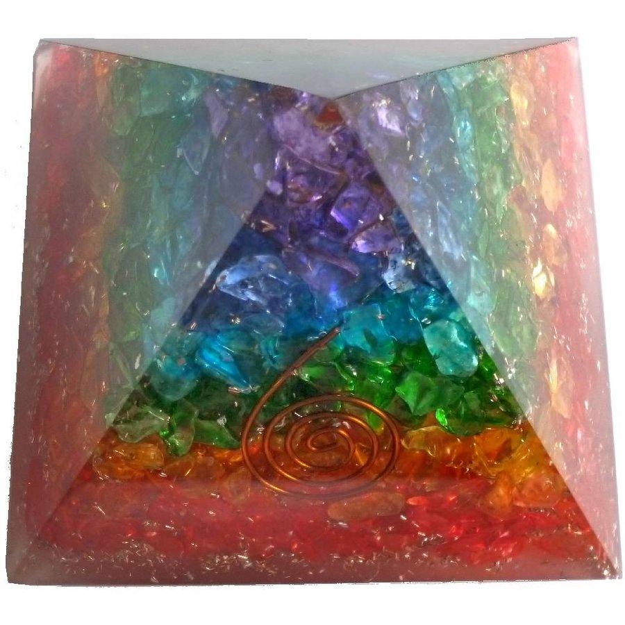 Orgonit Pyramide mit Regenbogen mit gemischten Steinen-3