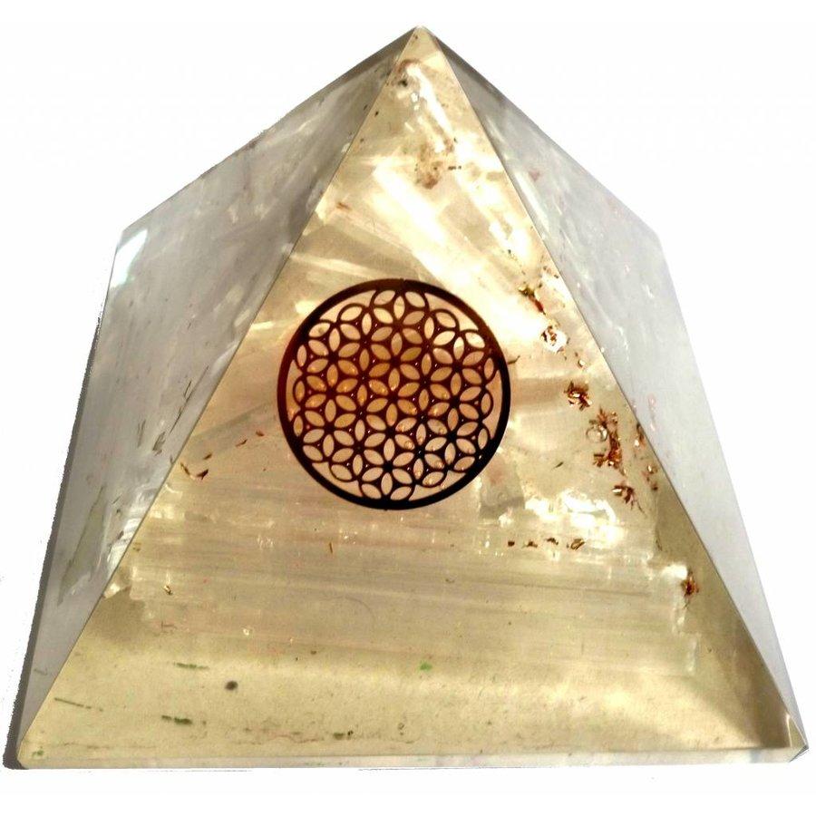 Orgonit Pyramide mit Selenit und Blume des Lebens-3