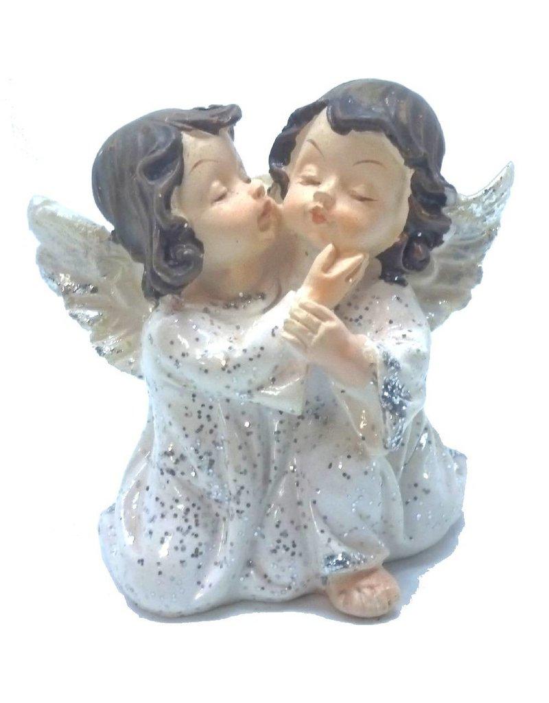 2 Engelpaare kniend und flüsternd