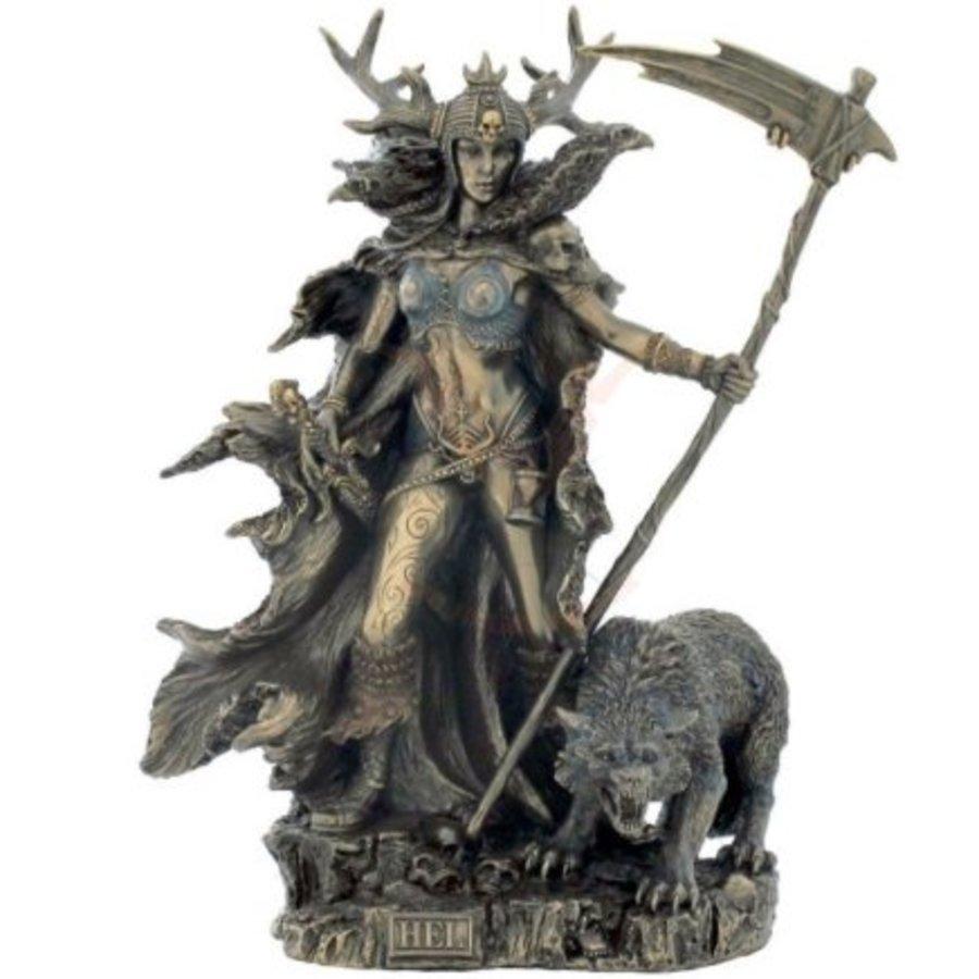 Hel Göttin der Unterwelt aus Polyresin, bronziert-1
