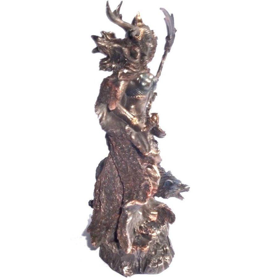 Hel Göttin der Unterwelt aus Polyresin, bronziert-3