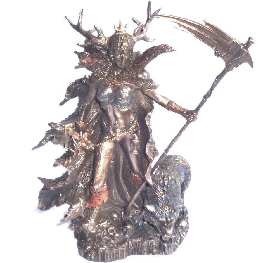 Hel Göttin der Unterwelt aus Polyresin, bronziert-4