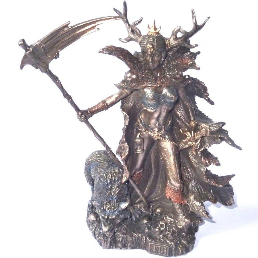 Hel Göttin der Unterwelt aus Polyresin, bronziert-5