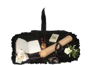 Bücher, Buch der Schatten, Hexenbuch, Schreibzubehör