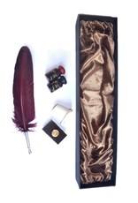 Kalligraphie-Set mit Truthahnfeder, 2 x Tinte, Tintenfass und Löschwiege