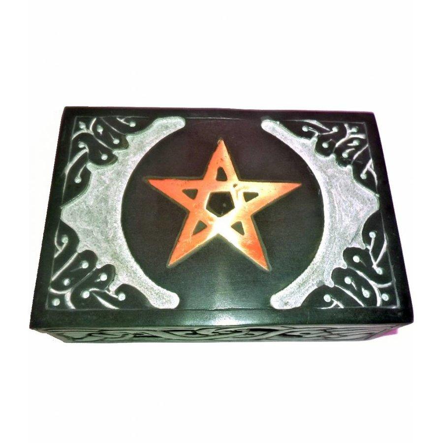 Speckstein Dose mit Pentagramm oder Triquetra-1