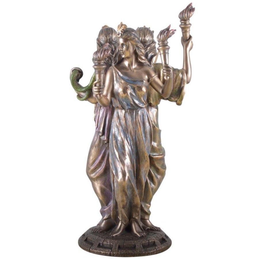 Hekate, Hexengöttin aus Polyresin, bronziert-2
